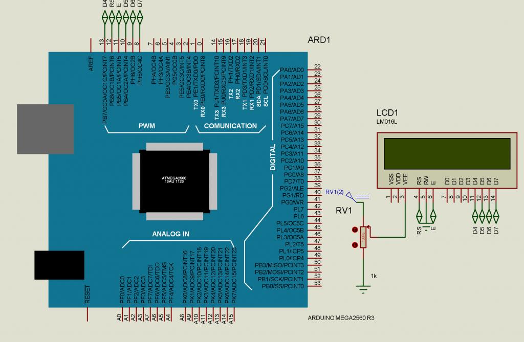 LCD 2x16 ARDUINO MEGA